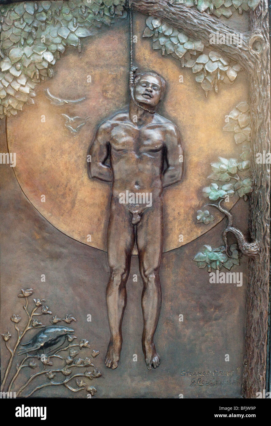 Sculpture in Baltimore Relief of lynching on Billie Holiday monument, Penn Ave - Stock Image