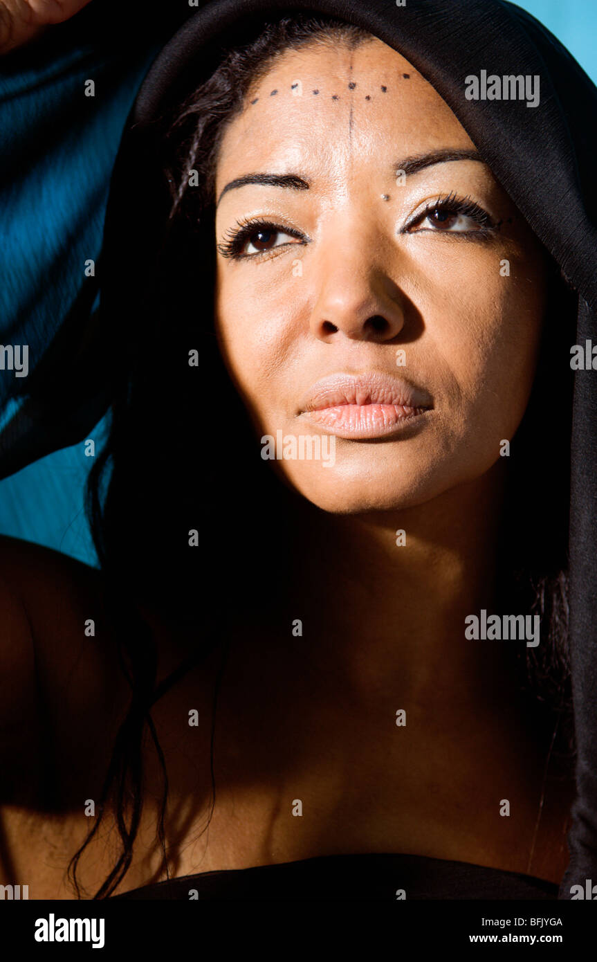 Portrait of an African woman, close-up, Sweden. - Stock Image