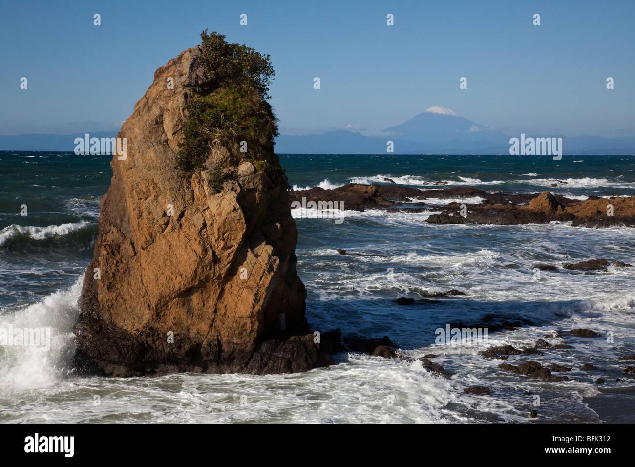 Japan Coast Rocks at Shonan Coast - Stock Image