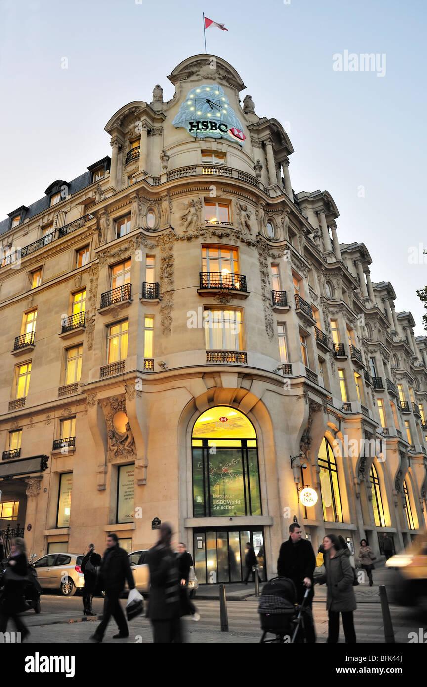 Paris, France, Commercial Architecture, HSBC Bank Corporate Headquarters Buildings, Front, Facade, - Stock Image