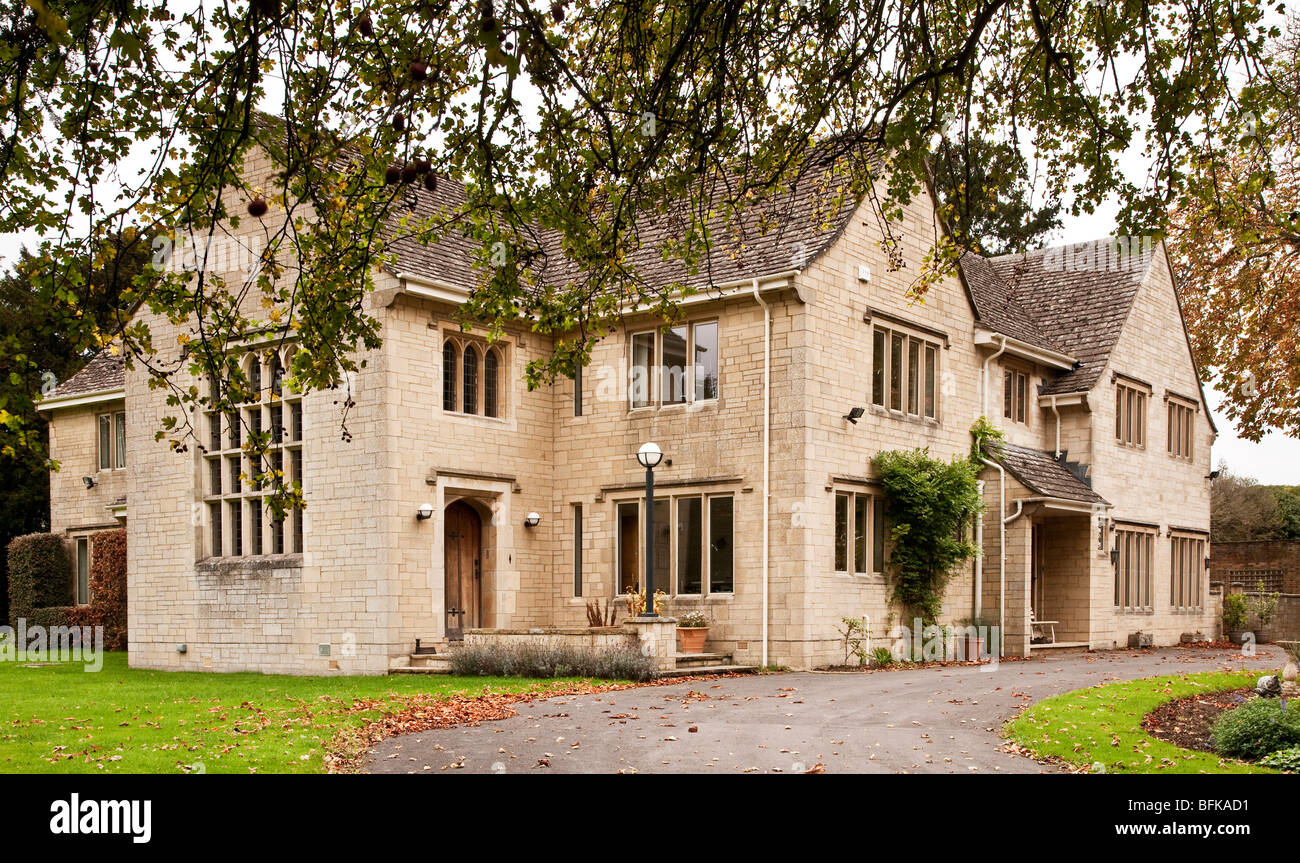 Exterior of a posh grand expensive English country house manor or mansion in the UK - Stock Image