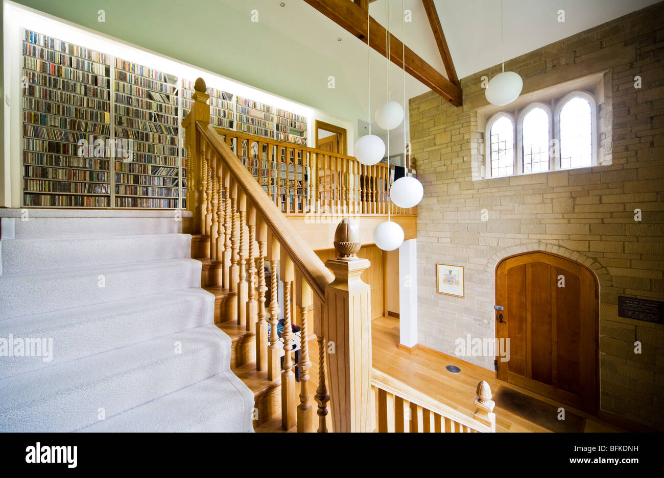 Staircase And Hallway Of A Modern Contemporary English Country House Mansion Or Manor In The UK