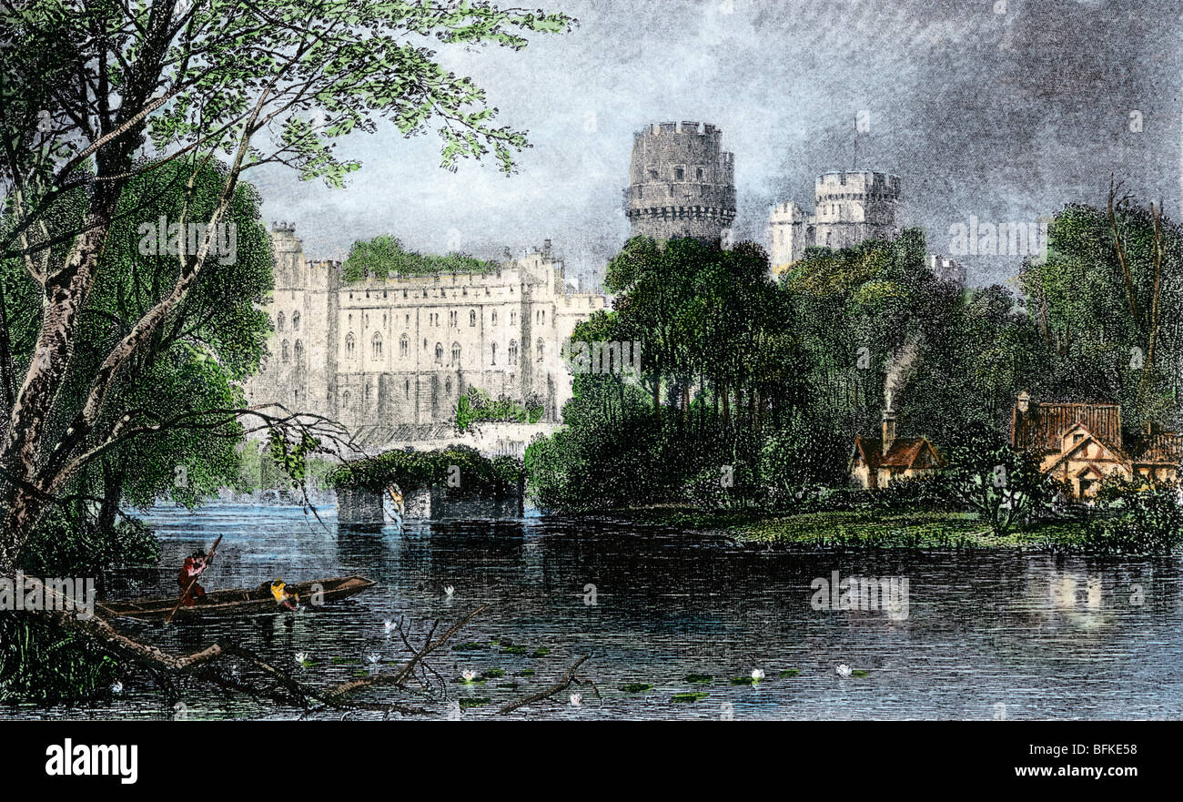 Norman castle in Warwick on the Avon, England. Hand-colored engraving - Stock Image