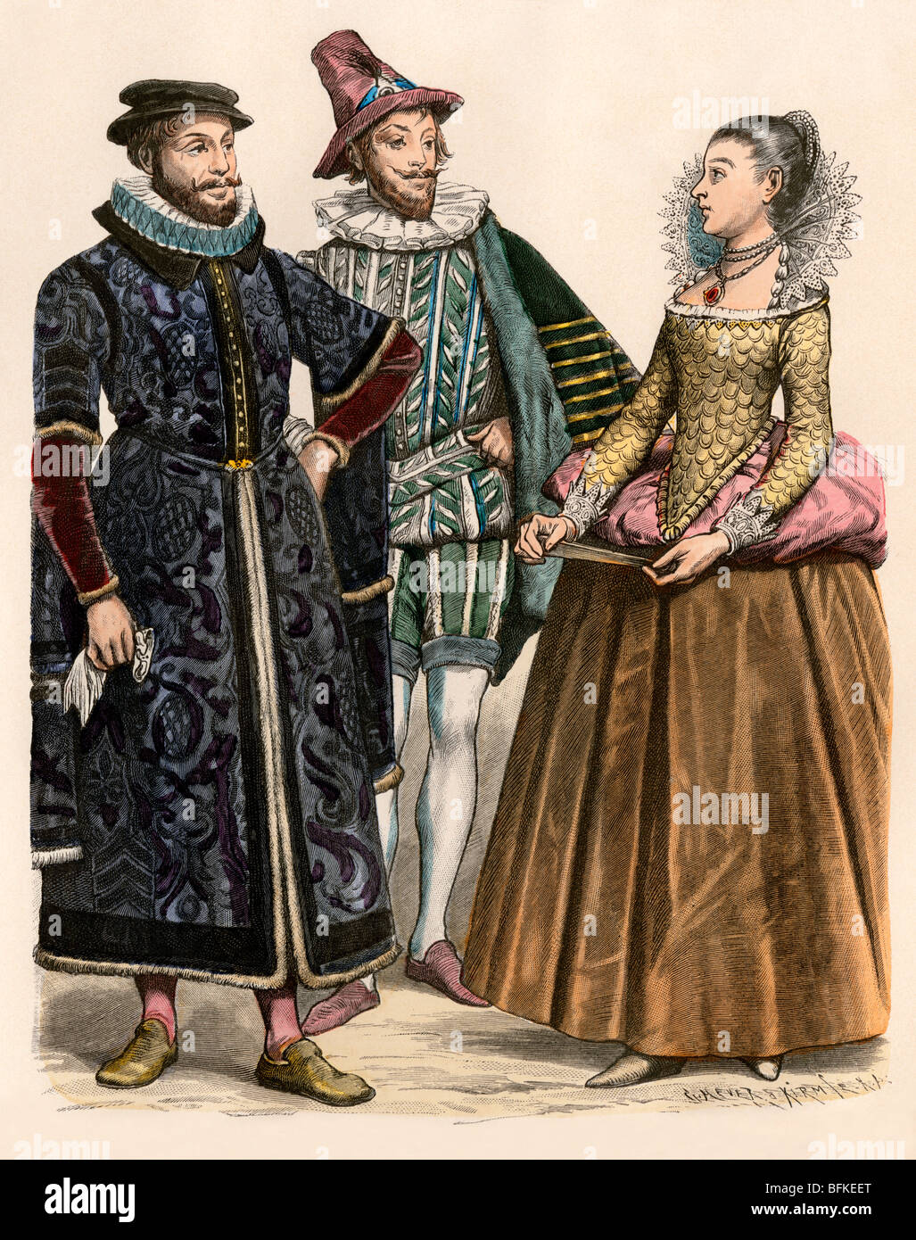 English merchant (left), noble, and a lady-in-waiting for Elizabeth I. Hand-colored print - Stock Image