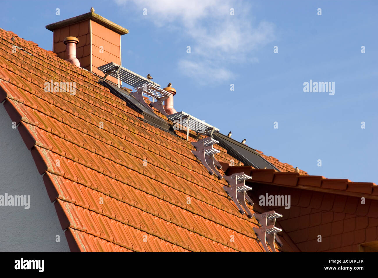 House roof in North Germany showing permanent roof steps for chimney sweep - Stock Image