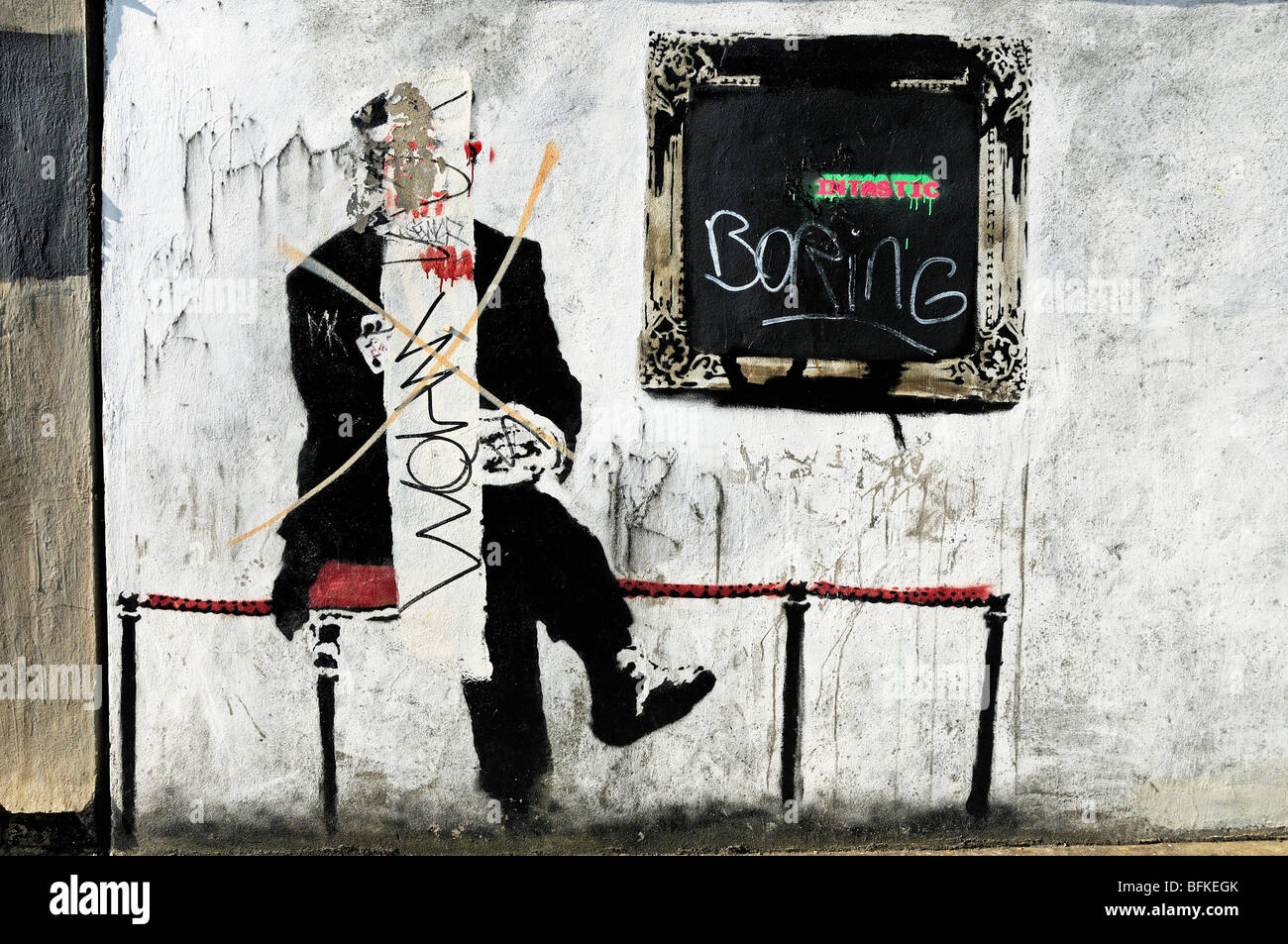 Defaced Banksy Highbury Islington London England UK Stock