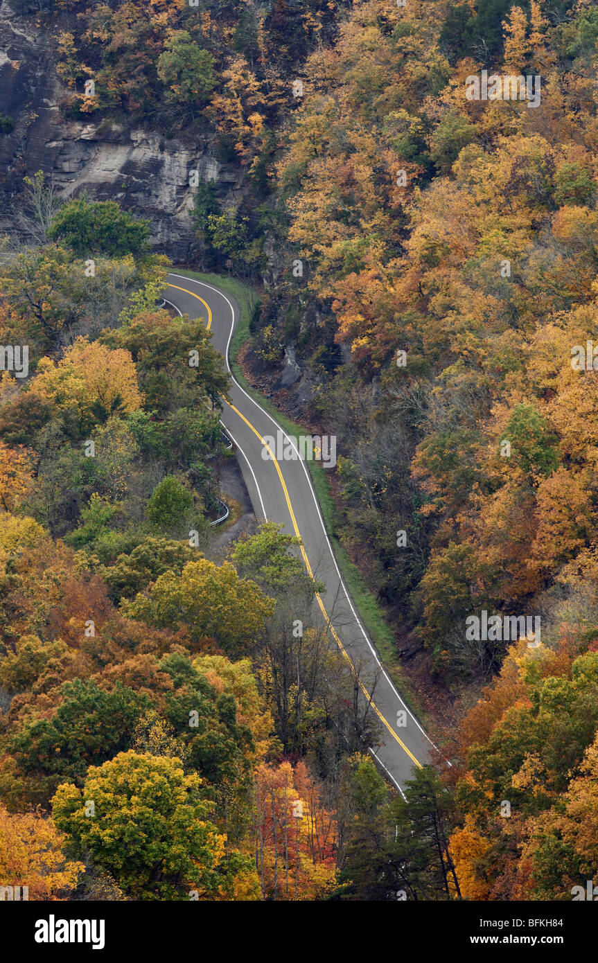 Autumn Color on Route 80 in Breaks Interstate Park in Kentucky - Stock Image