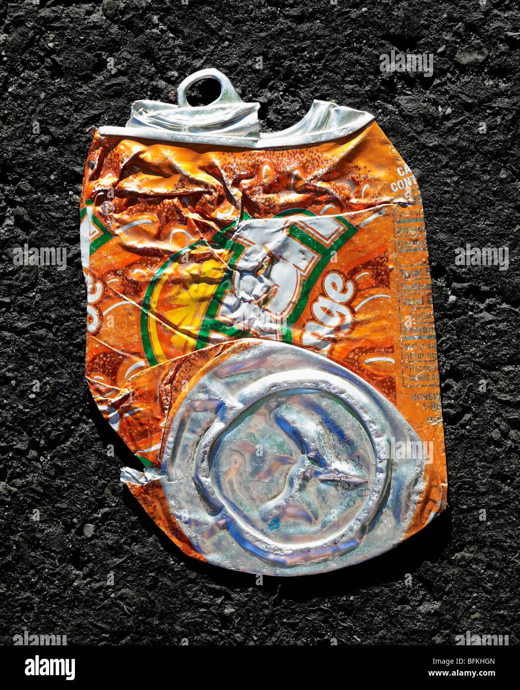 Orange Crush Soda Can Crushed Flat - Stock Image