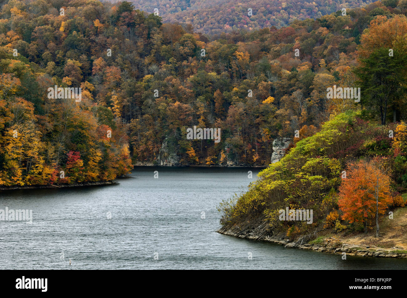 Autumn Color on John W Flannagan Lake in Dickenson County, Virginia - Stock Image