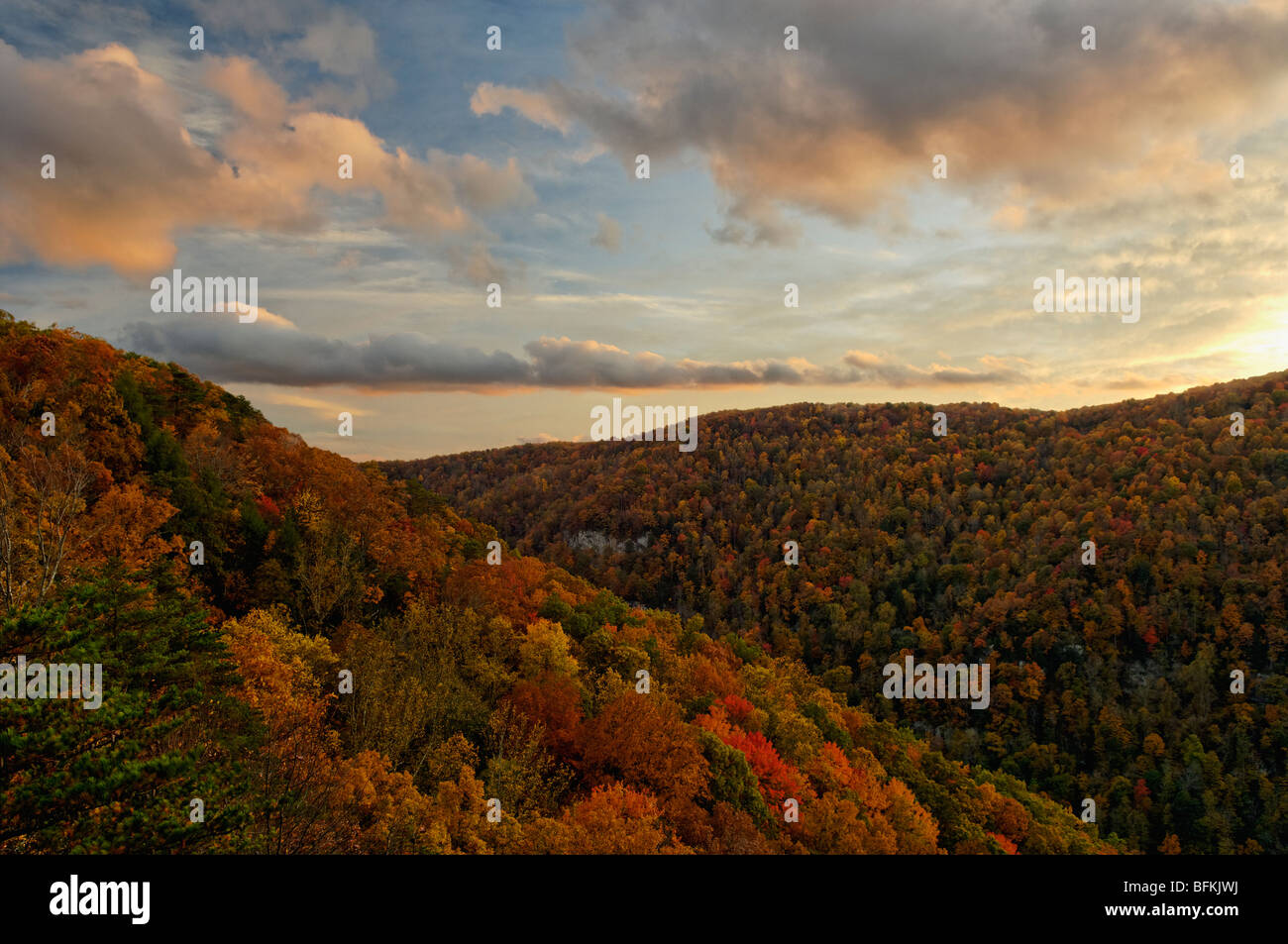 Autumn Sunset Over Pine Mountain from State Line Overlook in Breaks Interstate Park in Virginia - Stock Image