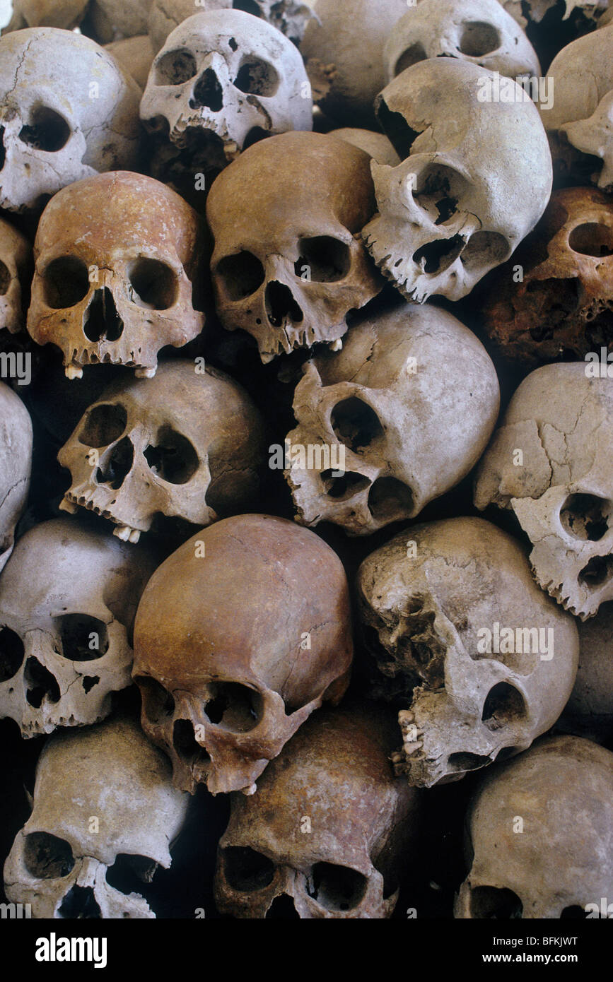 A pile of skulls of executed victims of the Pol Pot regime, gathered in a deserted school building next to Angkor - Stock Image