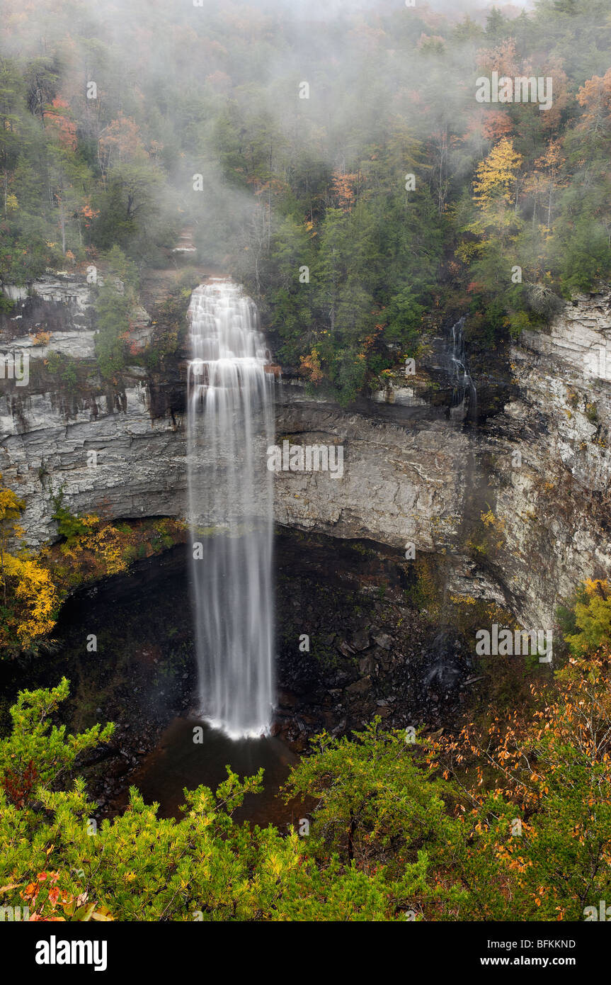 View of Fall Creek Falls and Autumn Color in Fall Creek Falls State Park, Tennessee Stock Photo