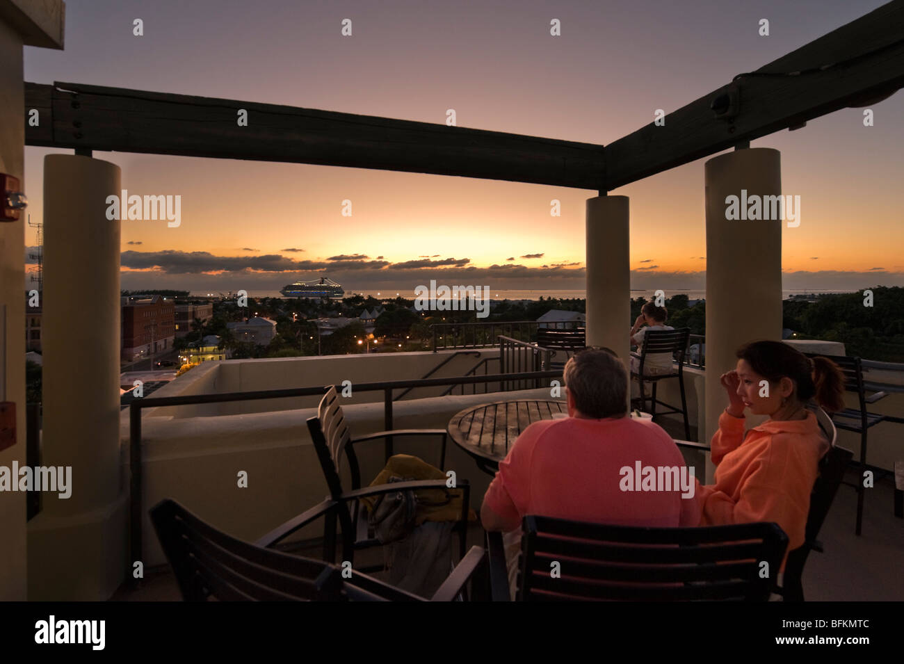 Sunset from the The Top rooftop bar of the Crowne Plaza La Concha Hotel, Key West, Florida Keys, USA - Stock Image