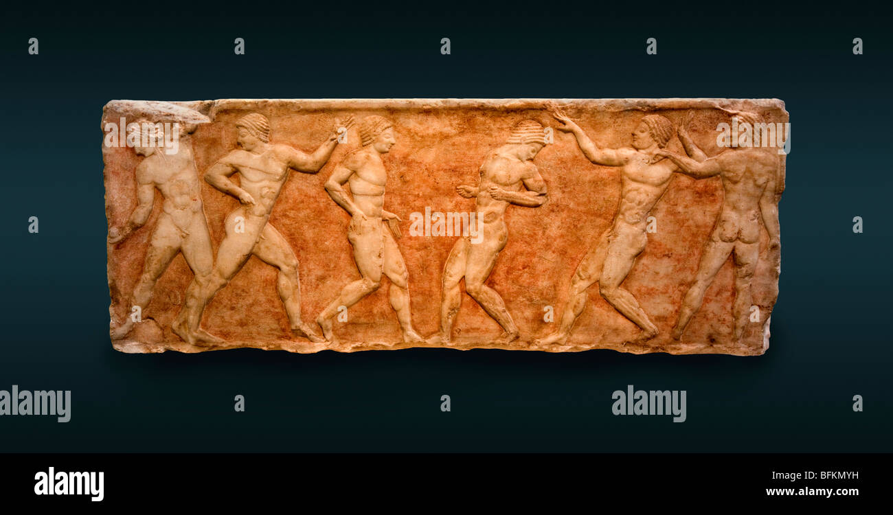 Left side of the 'Ball Player Base' showing athletes training in the Palaestra. See description for more - Stock Image