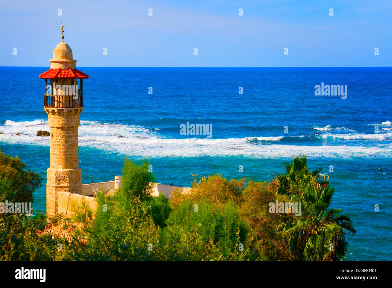 Landscape colorful view from Tel Aviv coastline, Israel - Stock Image