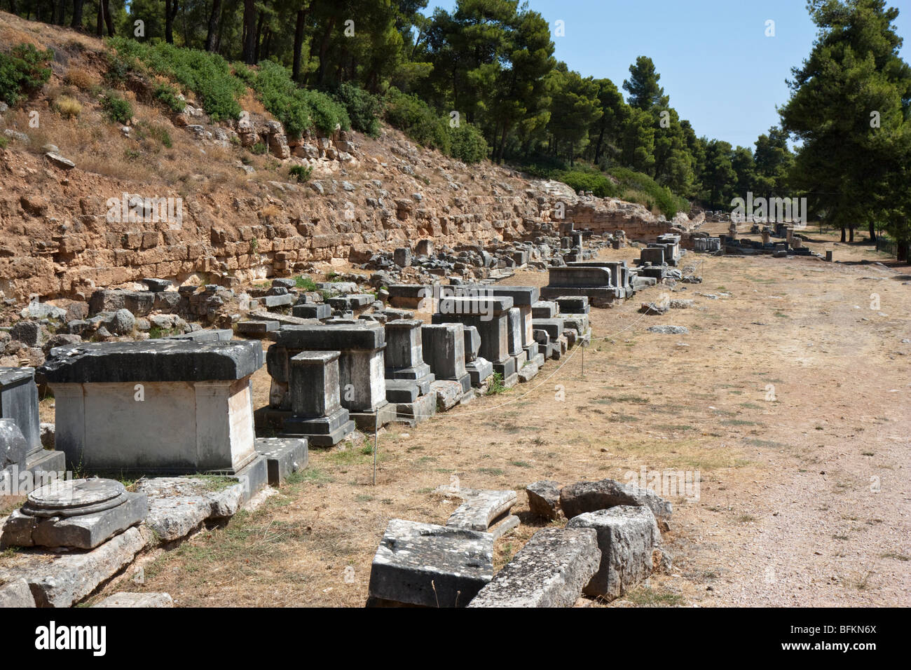A row of statue bases at the sanctuary of Amphiaraos at ancient Oropos. - Stock Image