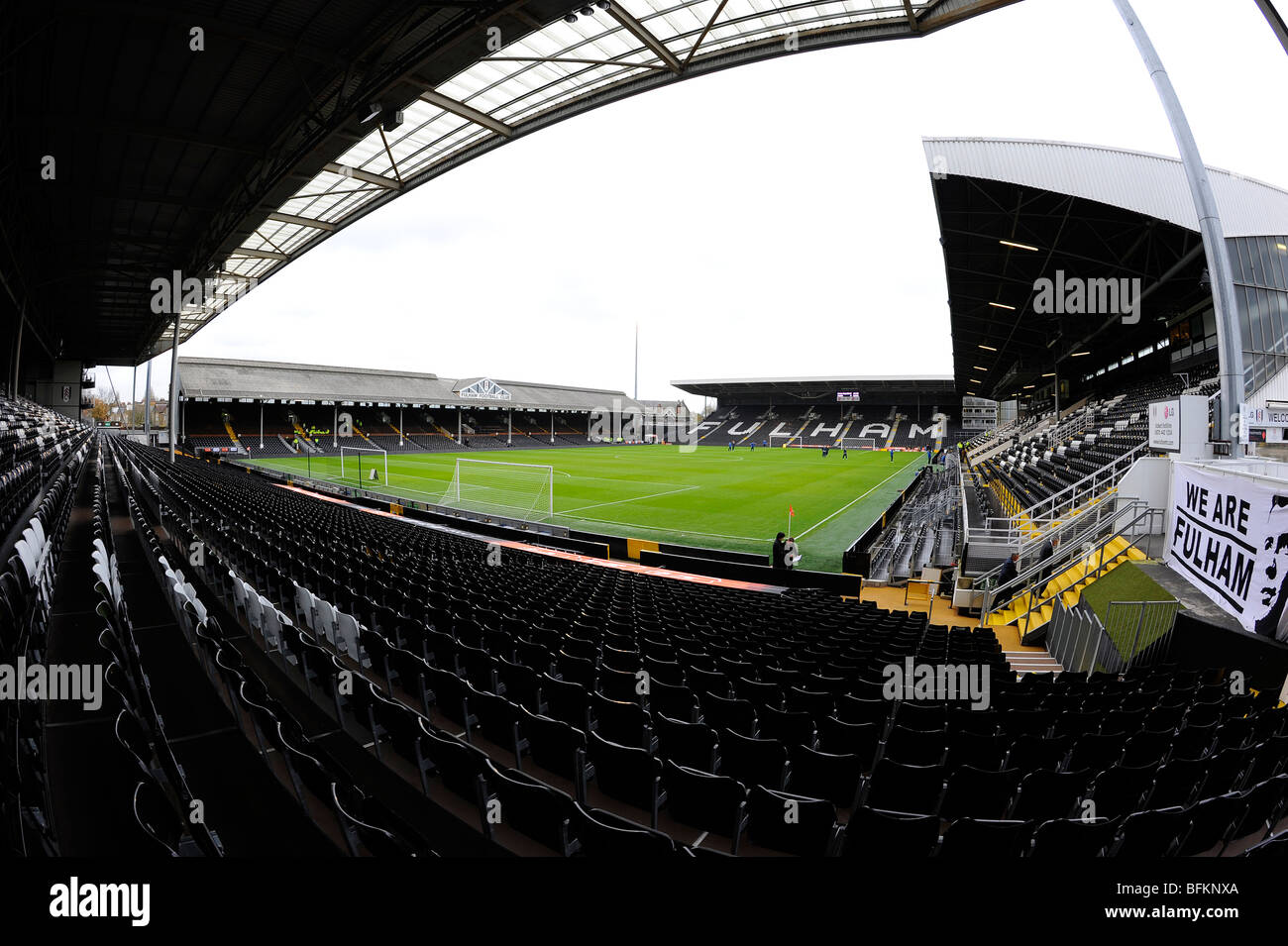 View inside Craven Cottage Stadium, home of Fulham Football Club - Stock Image