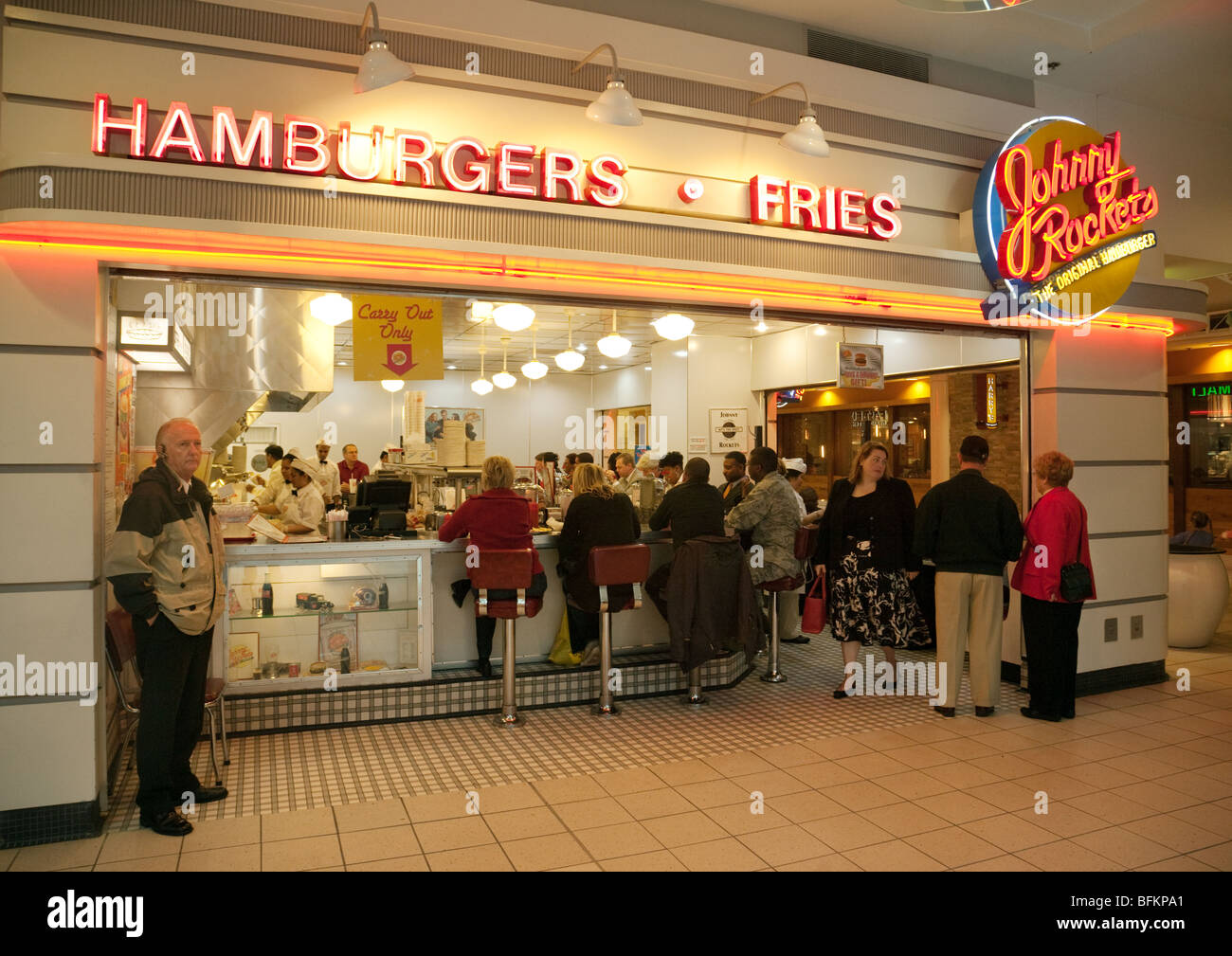 Johnny Rockets Hamburger Bar, Pentagon City shopping mall, Washington DC USA - Stock Image