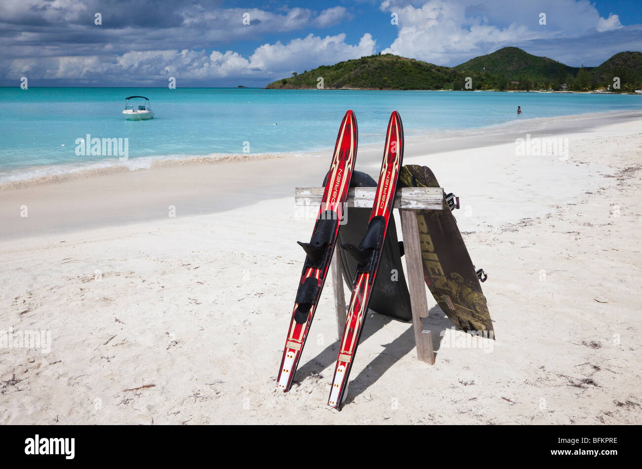 Water skis on the beach at Lignum Vitae Bay, Antigua - Stock Image