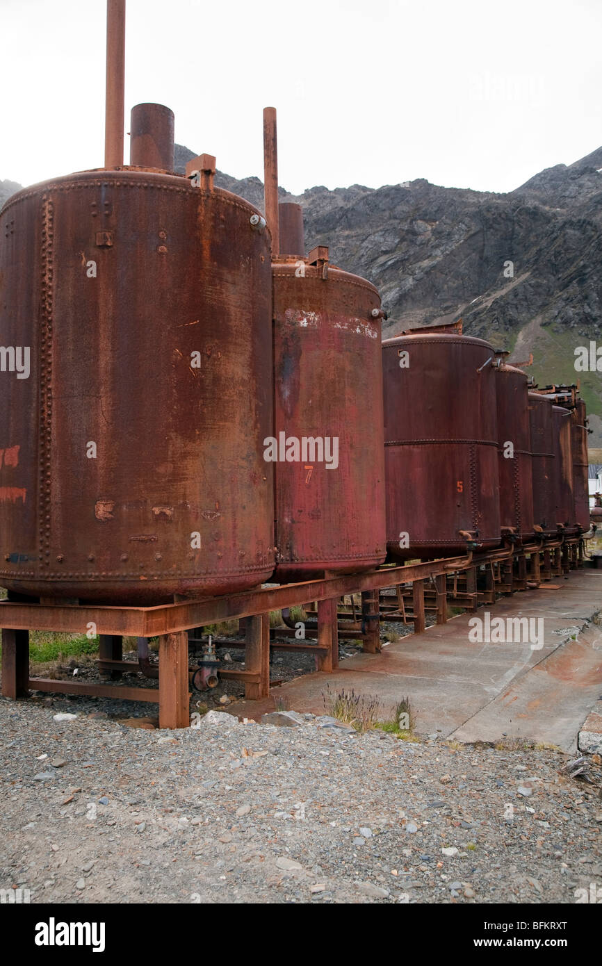 Abandoned pressure cookers, Grytviken, South Georgia Island - Stock Image