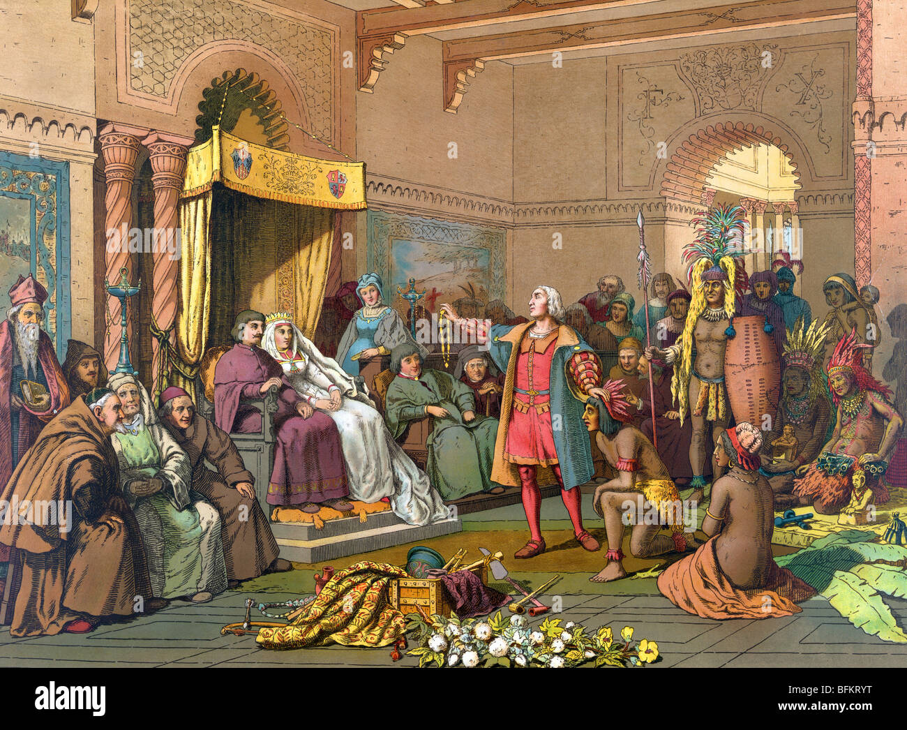 Print c1893 of Christopher Columbus standing before Ferdinand and Isabella with Native Indians brought back from the New World. Stock Photo