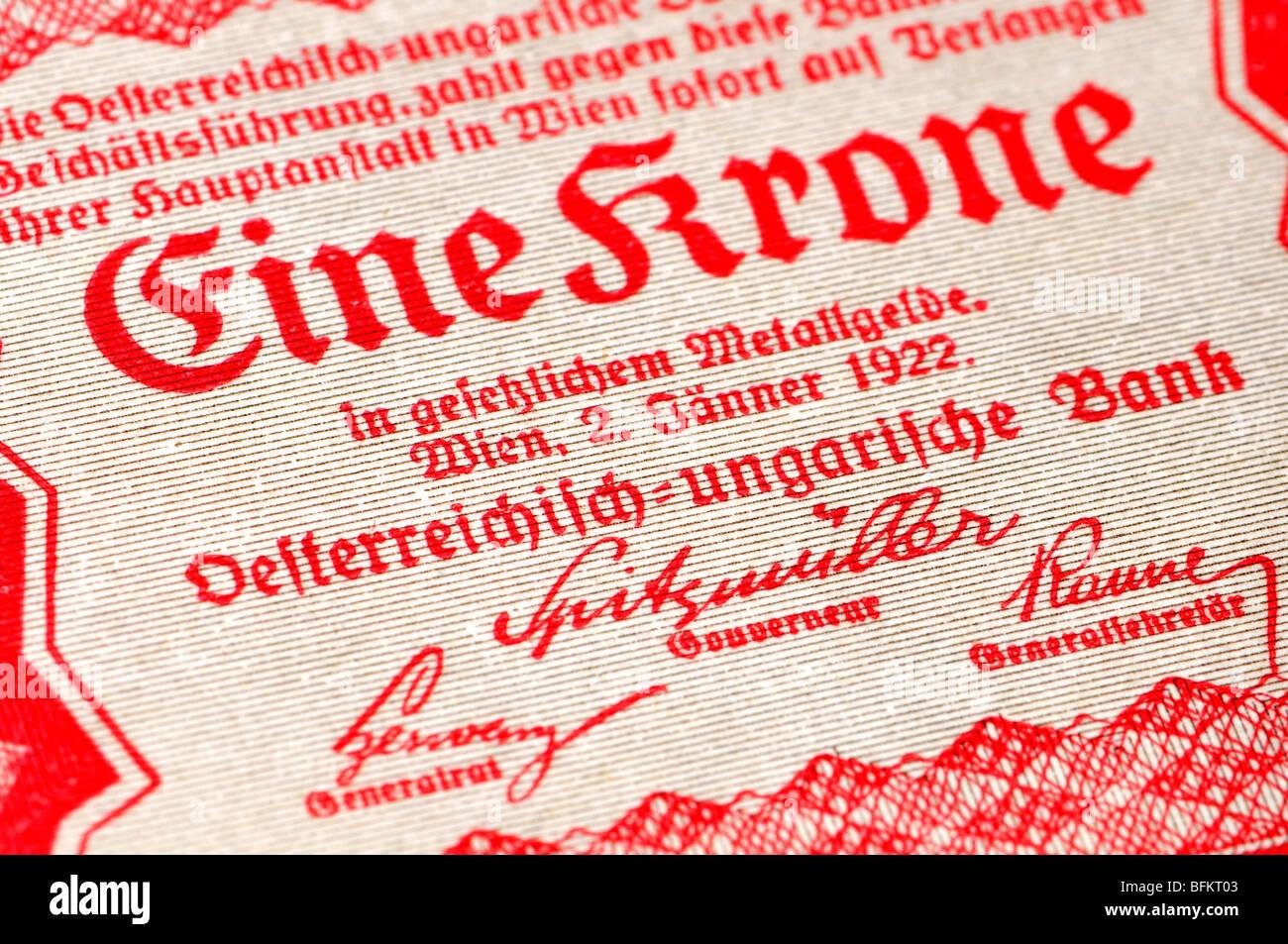Austro-Hungarian One Crown (Eine Krone) Banknote, Vienna, 1922. Detail - Stock Image