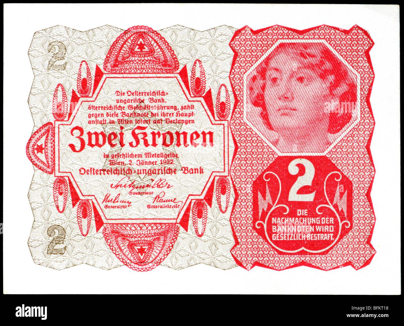Austro-Hungarian Two Crown (Zwei Kronen) Banknote, Vienna, 1922. - Stock Image