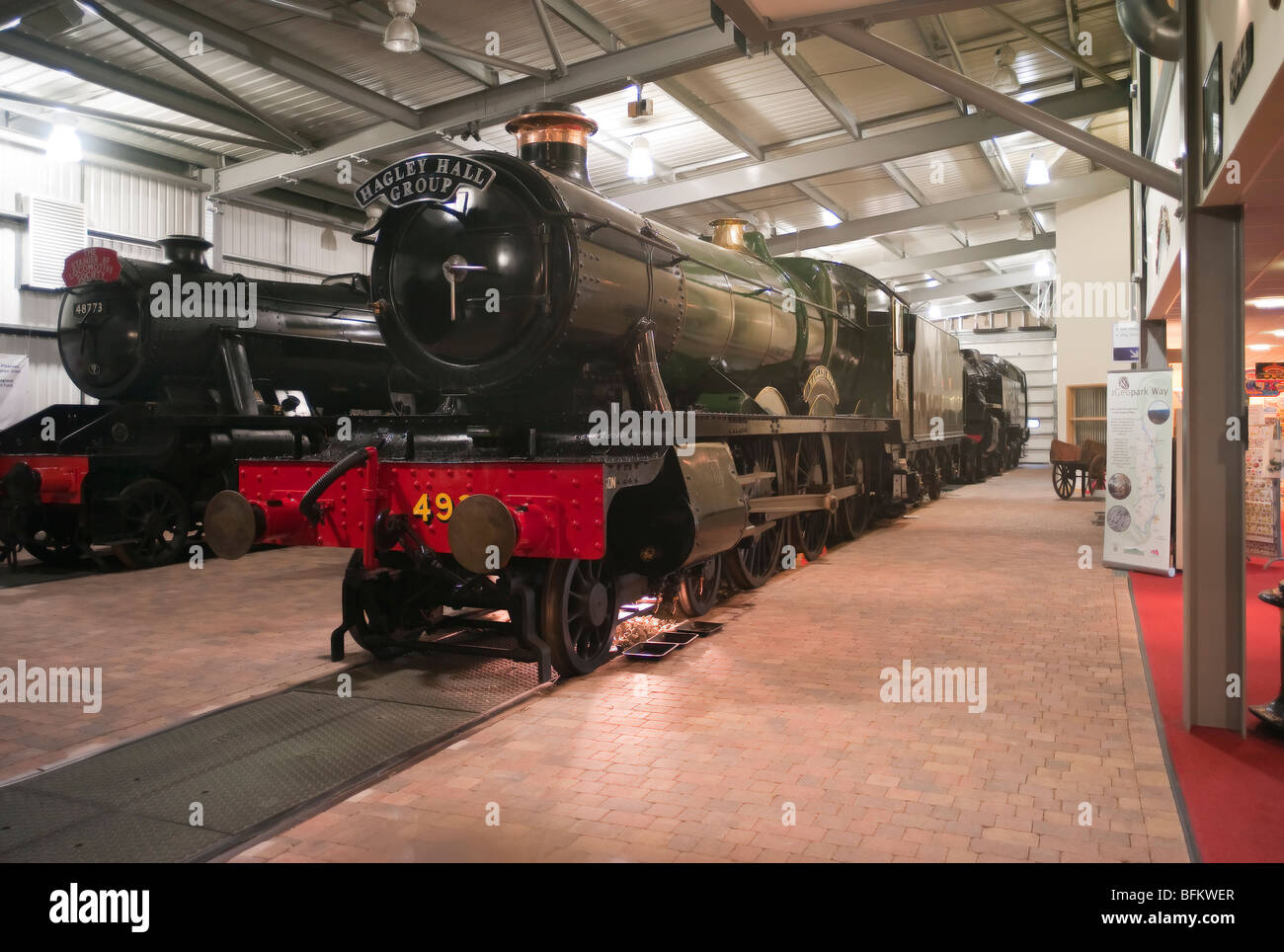 Old preserved steam locomotives in the Visitor Centre at Highley Worcestershire England UK - Stock Image