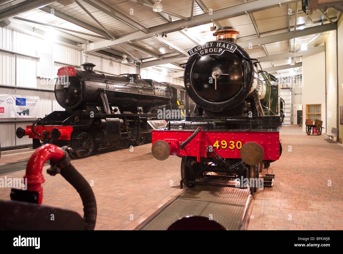 No 4930 Hagley Hall and other old preserved steam locomotives in the Visitor Centre at Highley Worcestershire England - Stock Image
