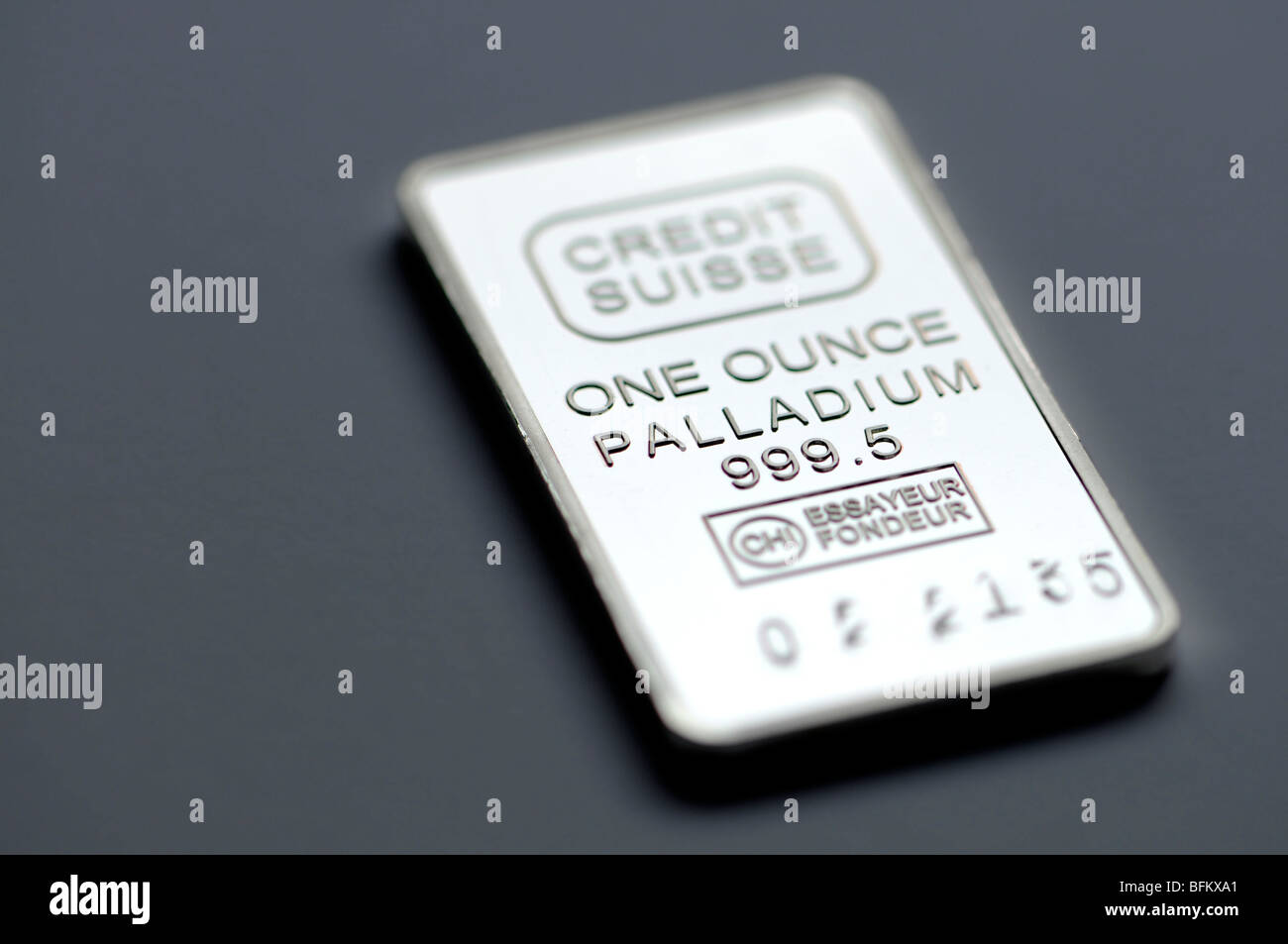 One ounce Palladium bullion bar / ingot (replica) - Stock Image