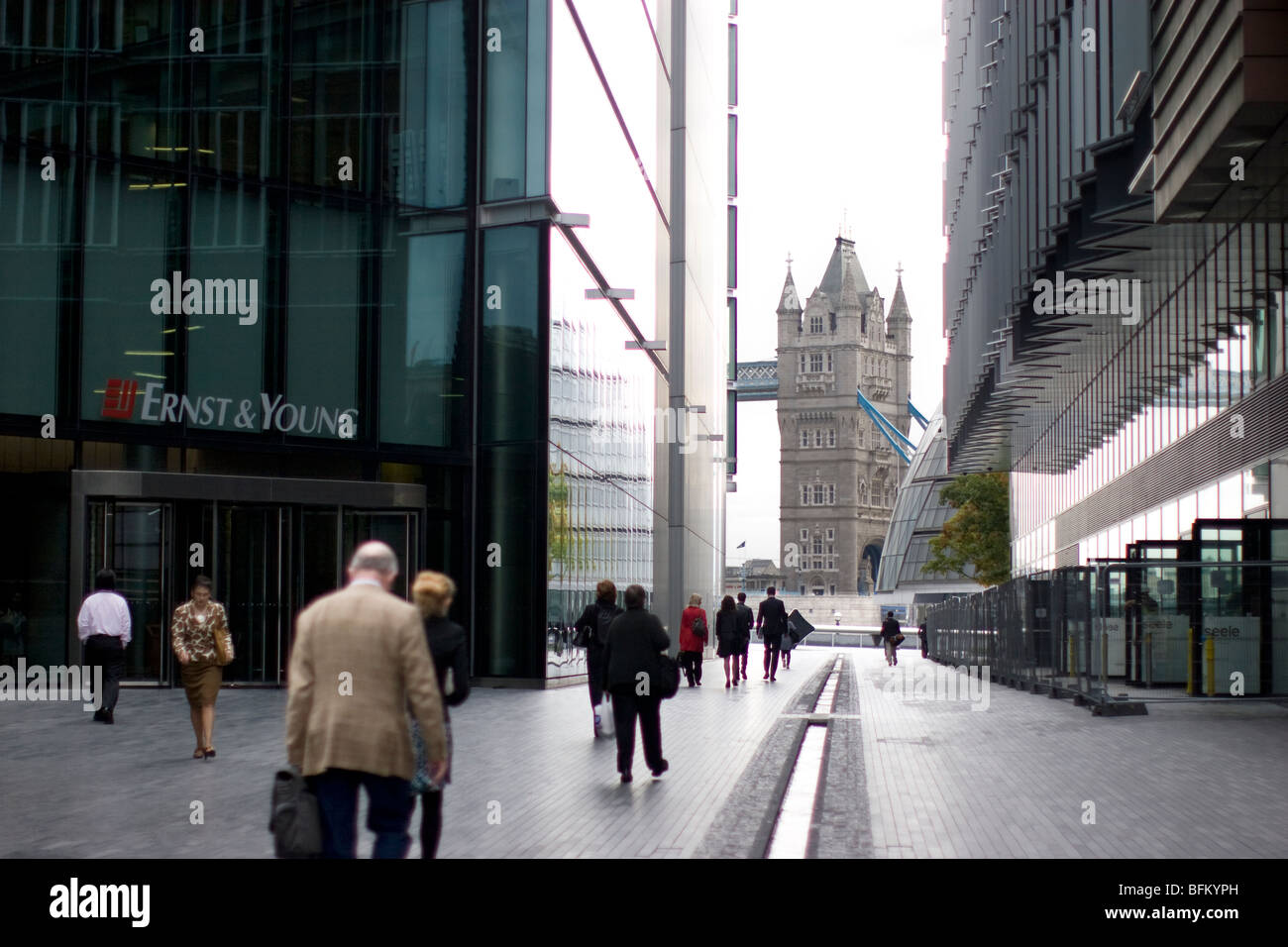 ernst and young, more london place, with tower bridge in background - Stock Image