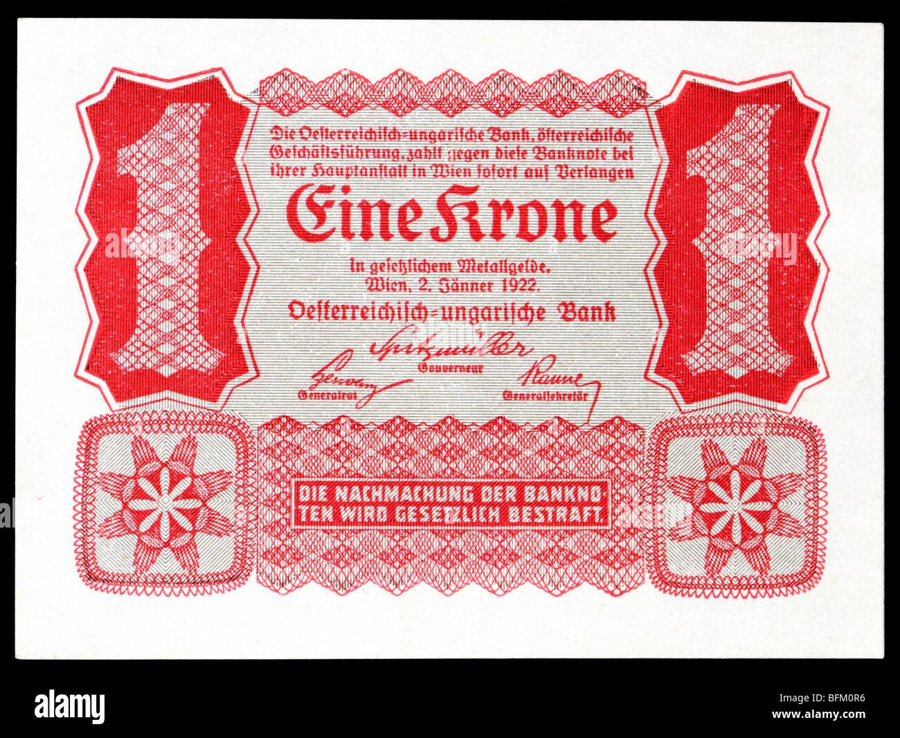 Austro-Hungarian One Crown (Eine Krone) Banknote, Vienna, 1922. - Stock Image