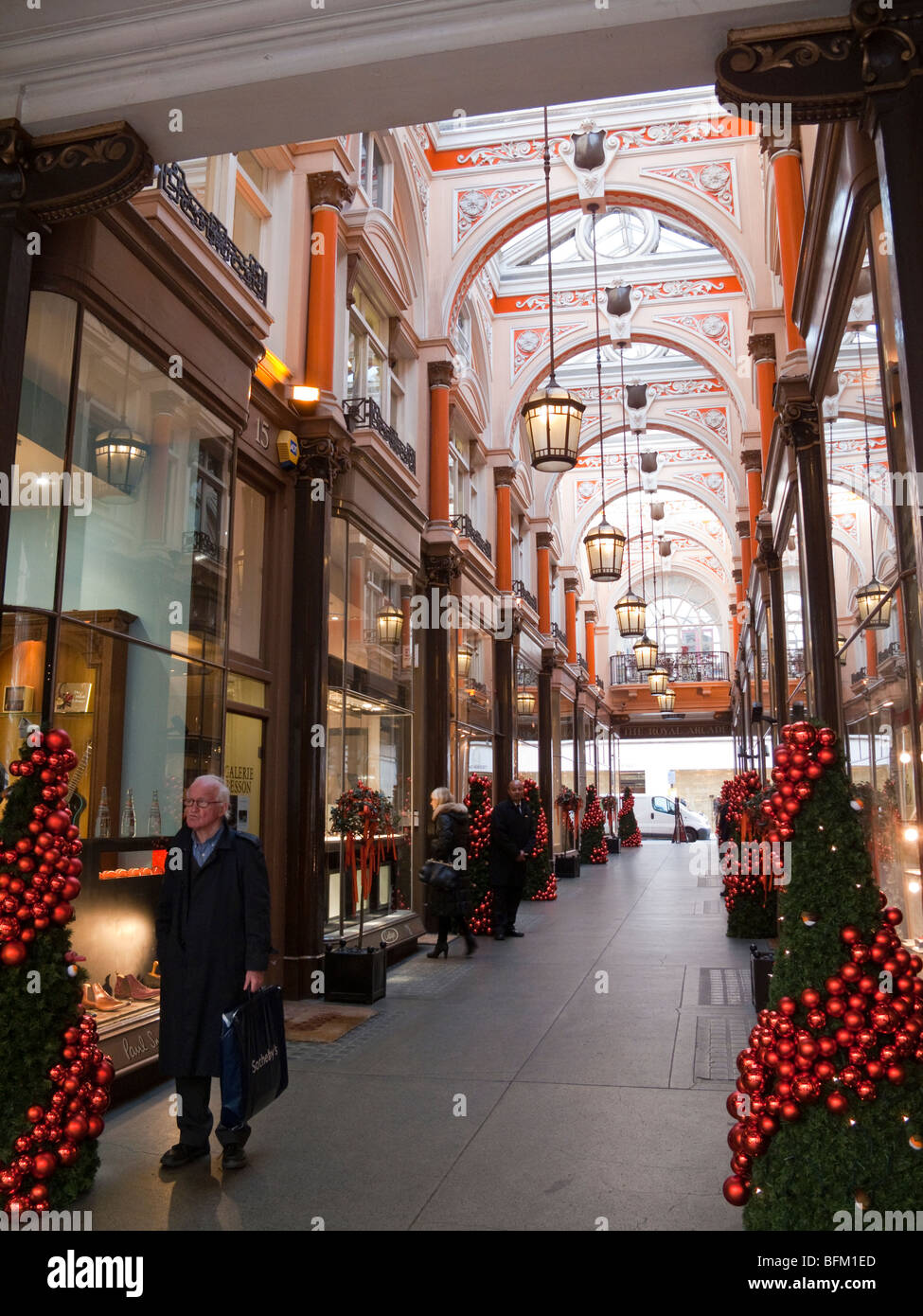 Royal Arcade, Christmas display, Old Bond Street, Mayfair, London, England, UK - Stock Image