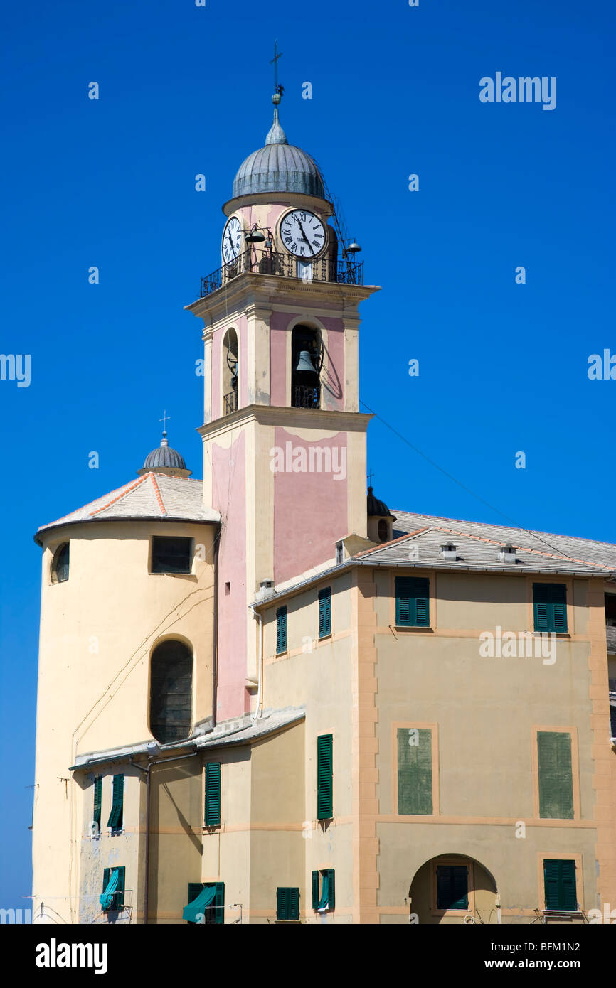 Church building and bell tower Camogli, Liguria, Italy - Stock Image