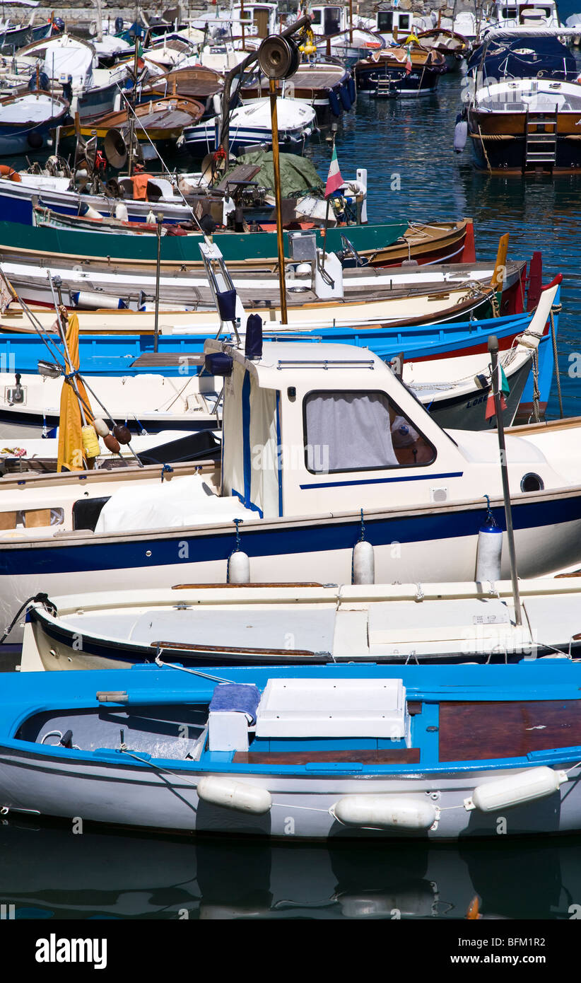 Fishing boat in harbour at Camogli, Liguria, Italy - Stock Image
