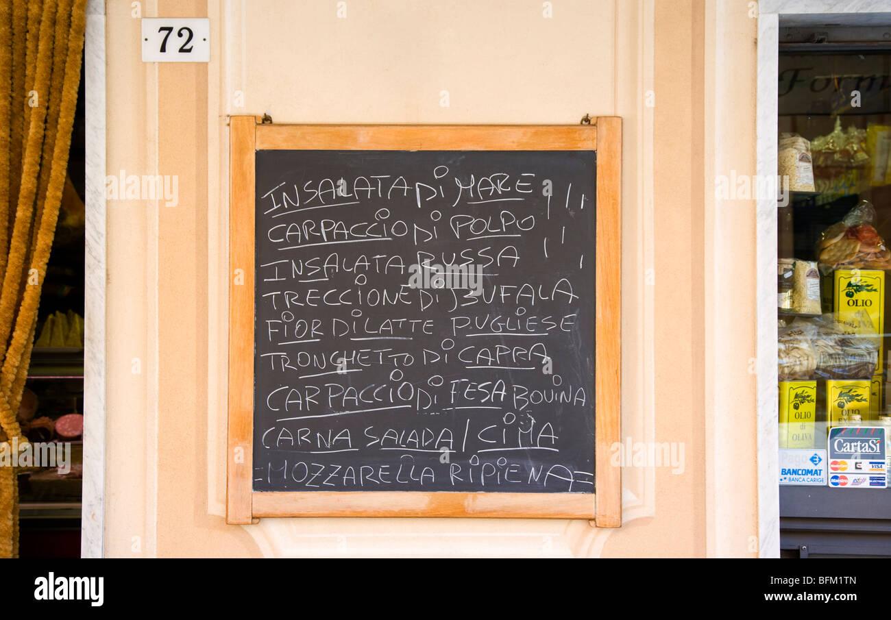 Blackboard menu Camogli, Liguria, Italy - Stock Image