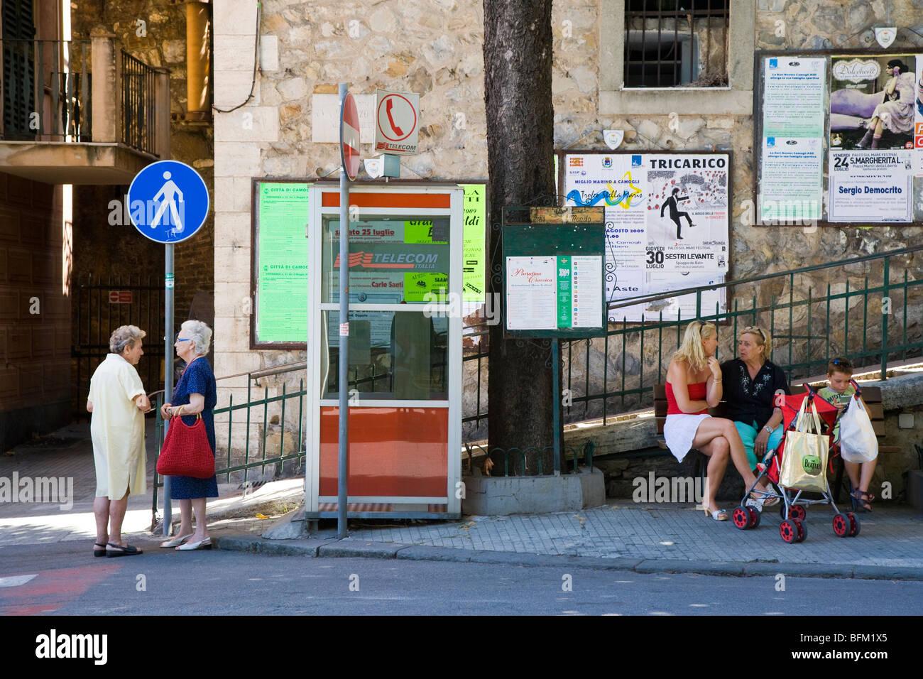 People socialising in Camogli, Liguria, Italy - Stock Image