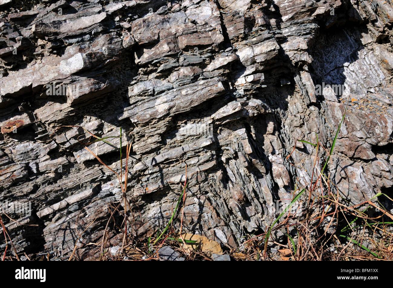 Folds in limestone, Oklahoma, USA. - Stock Image