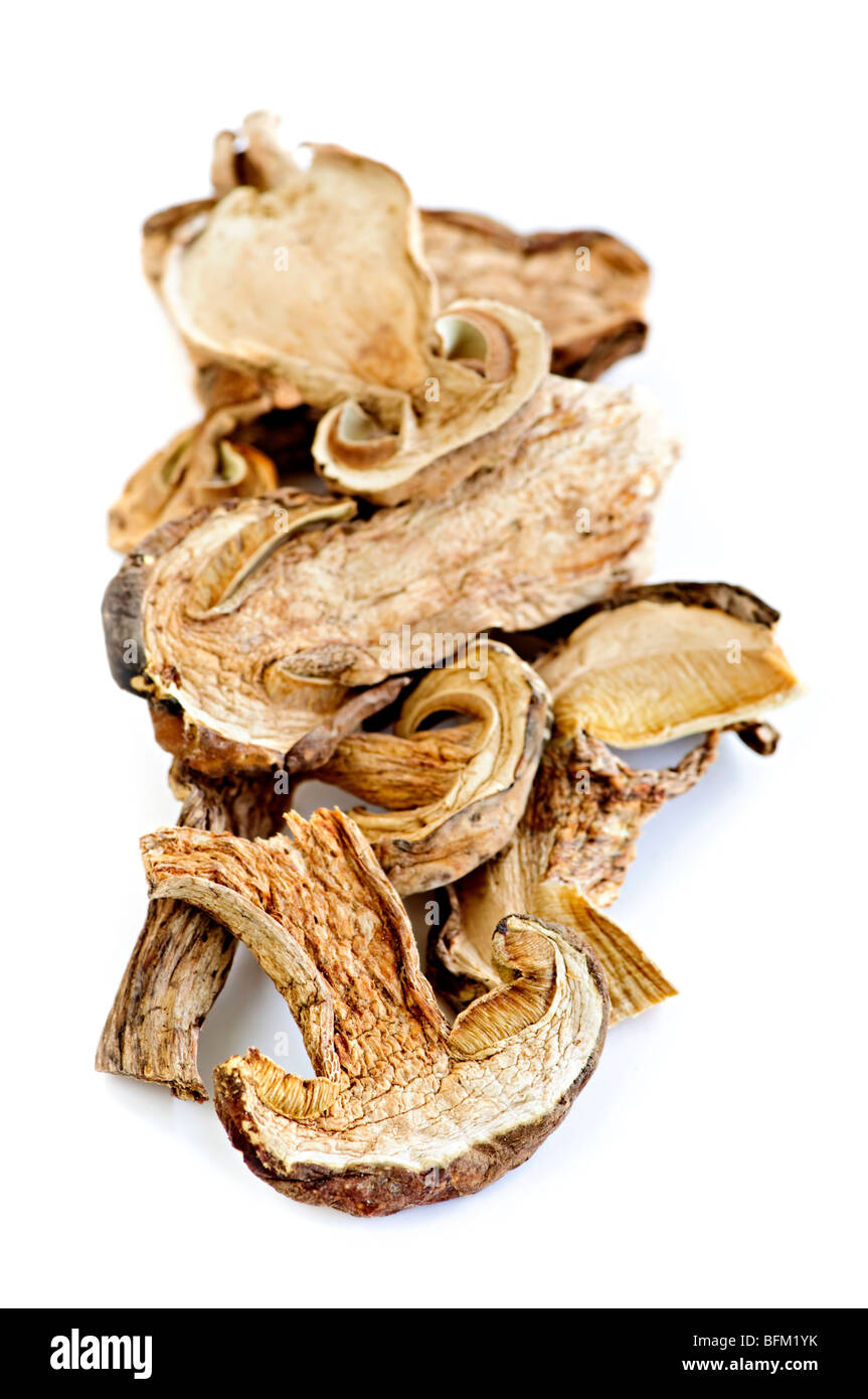 Dried sliced porcini mushrooms isolated on white background Stock Photo