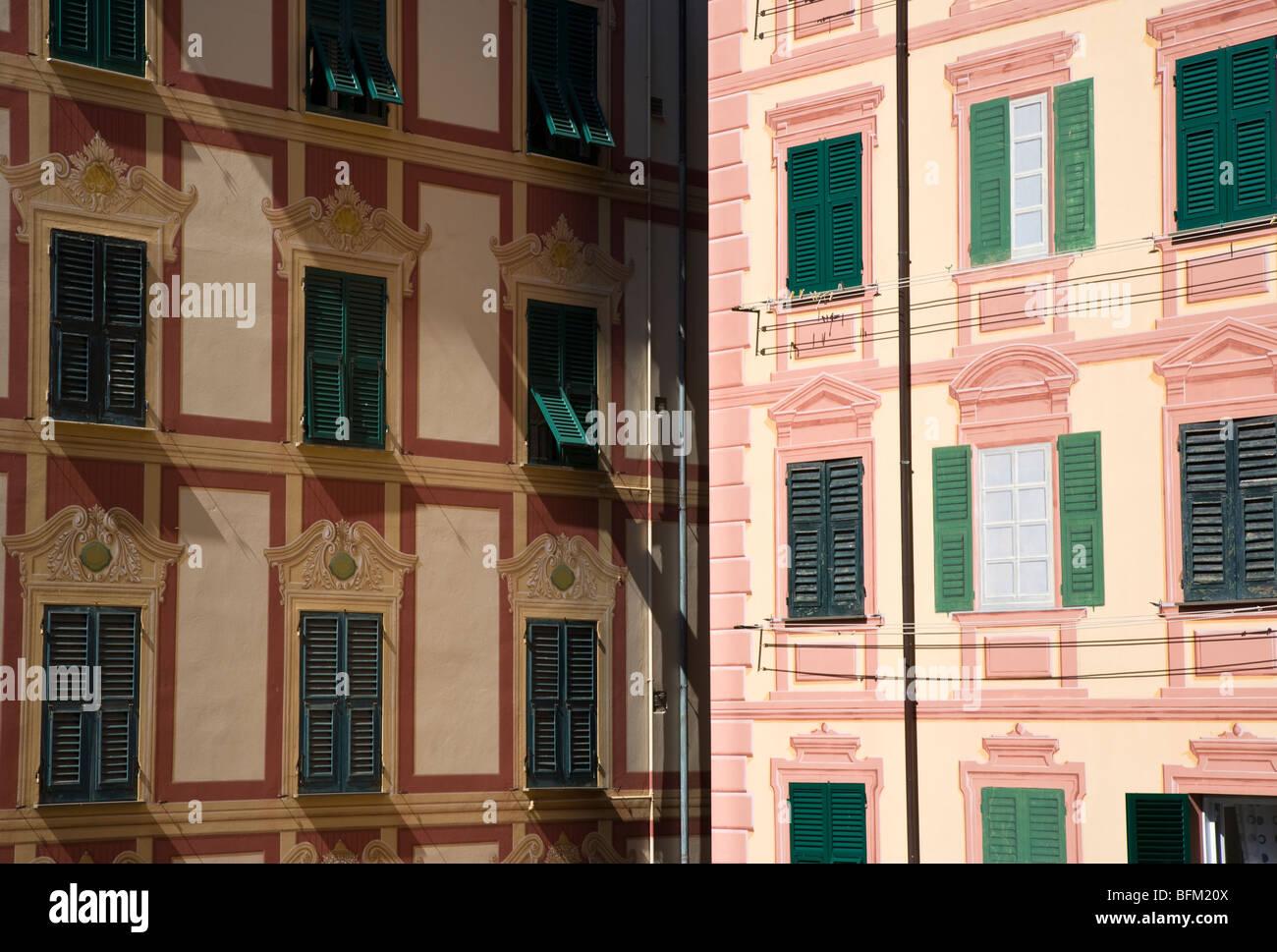 Tromp l'oeil buildings, Camogli, Liguria, Italy - Stock Image