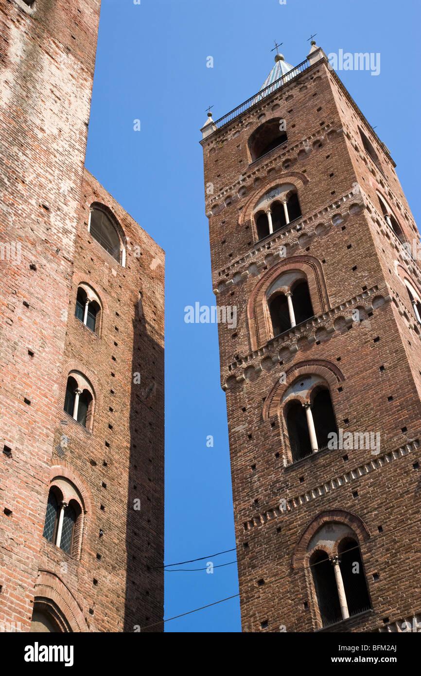 Medieval towers, Albenga, Liguria, Italy - Stock Image