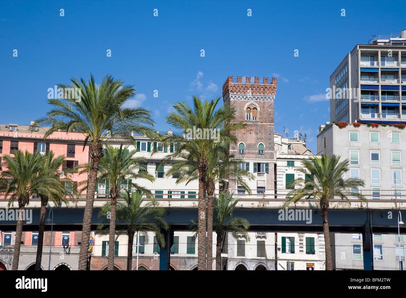 Raised flyover road in Genoa, Italy - Stock Image