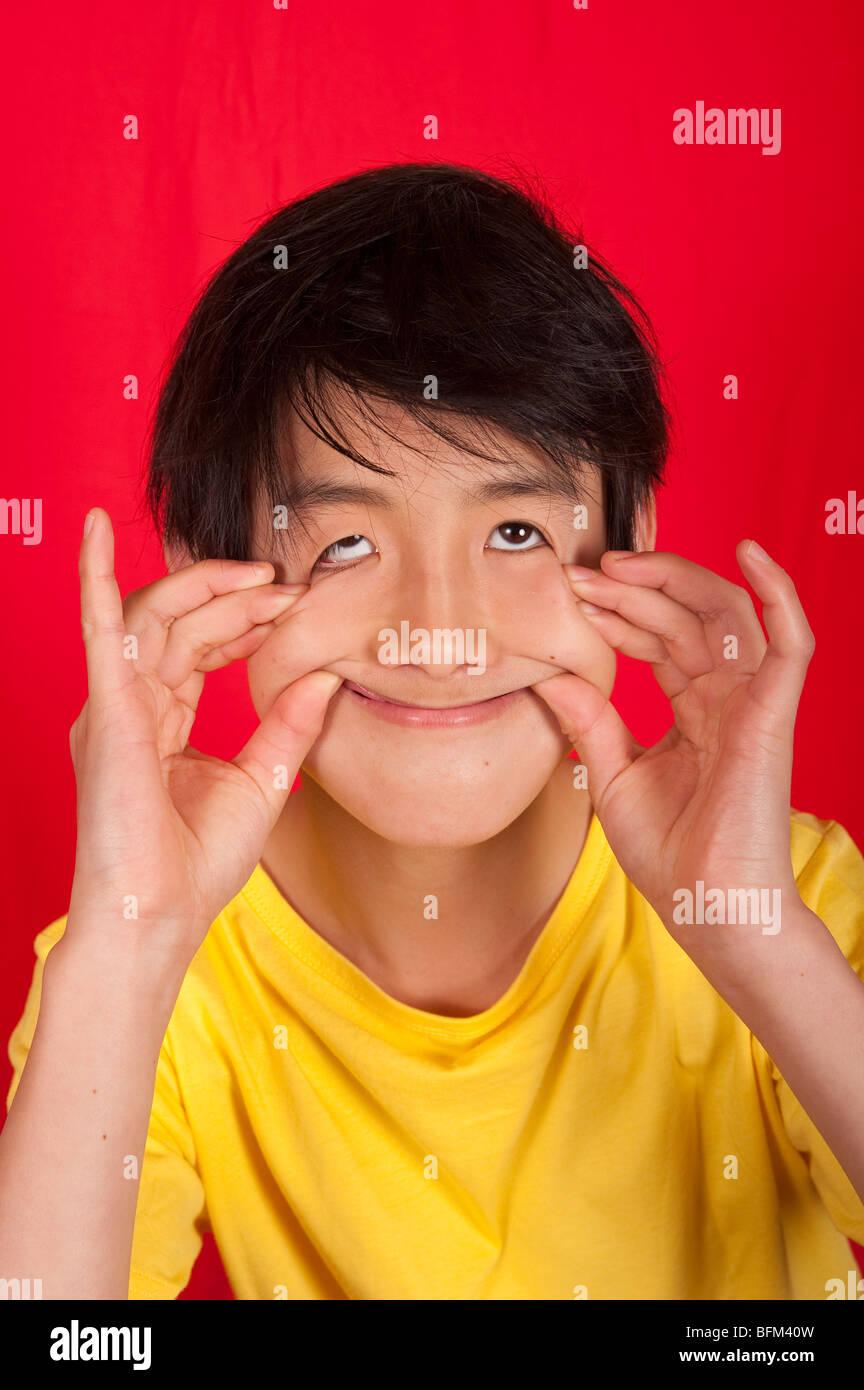 portrait of 13 year old Asian boy