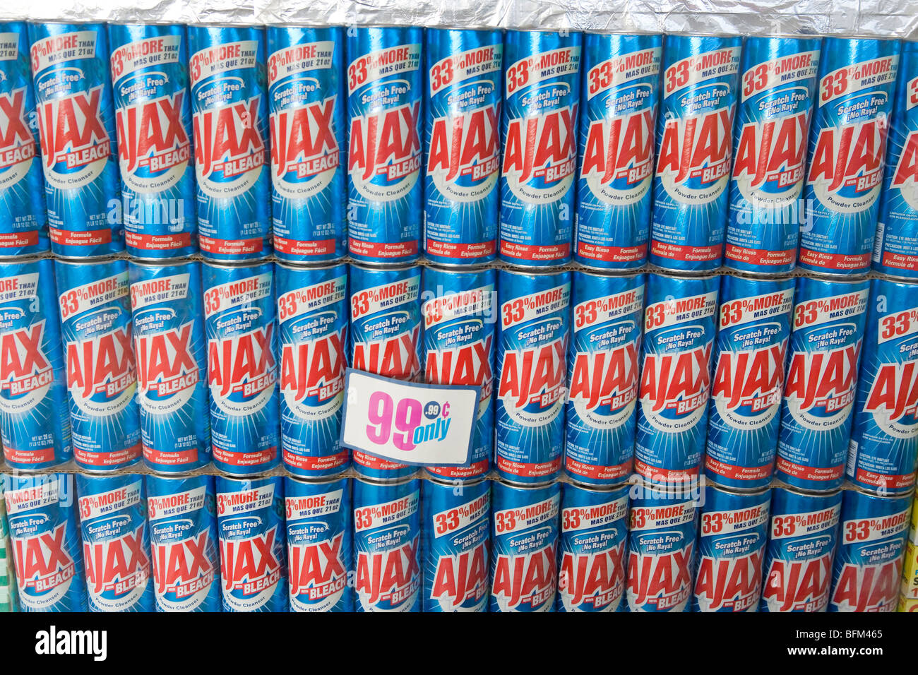 99 Cent Store Ninety Nine Dollar Ajax Cleaning Supply Cleanser Cheap Many Rows Of Product American Brand Name