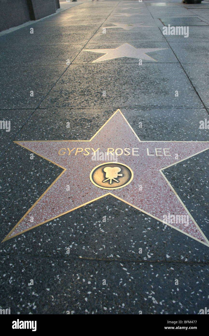 Hollywood walk of fame star movie Gypsy Rose Lee actress California - Stock Image
