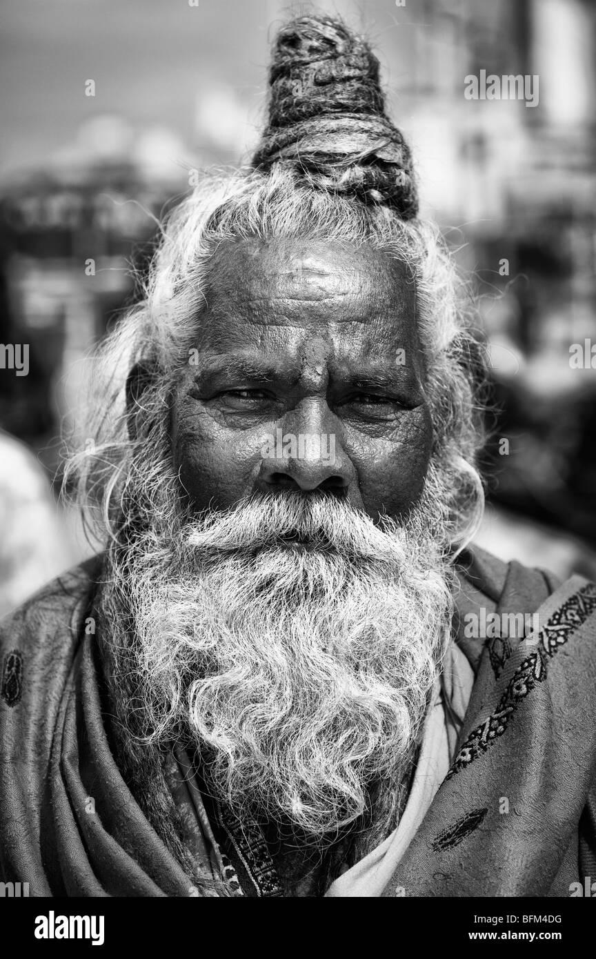 Indian sadhu portrait. Andhra Pradesh, India. Monochrome - Stock Image