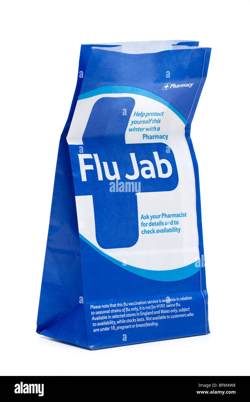 Blue and white paper Pharmacy Bag advertising the 'Flu Jab'. EDITORIAL ONLY - Stock Image