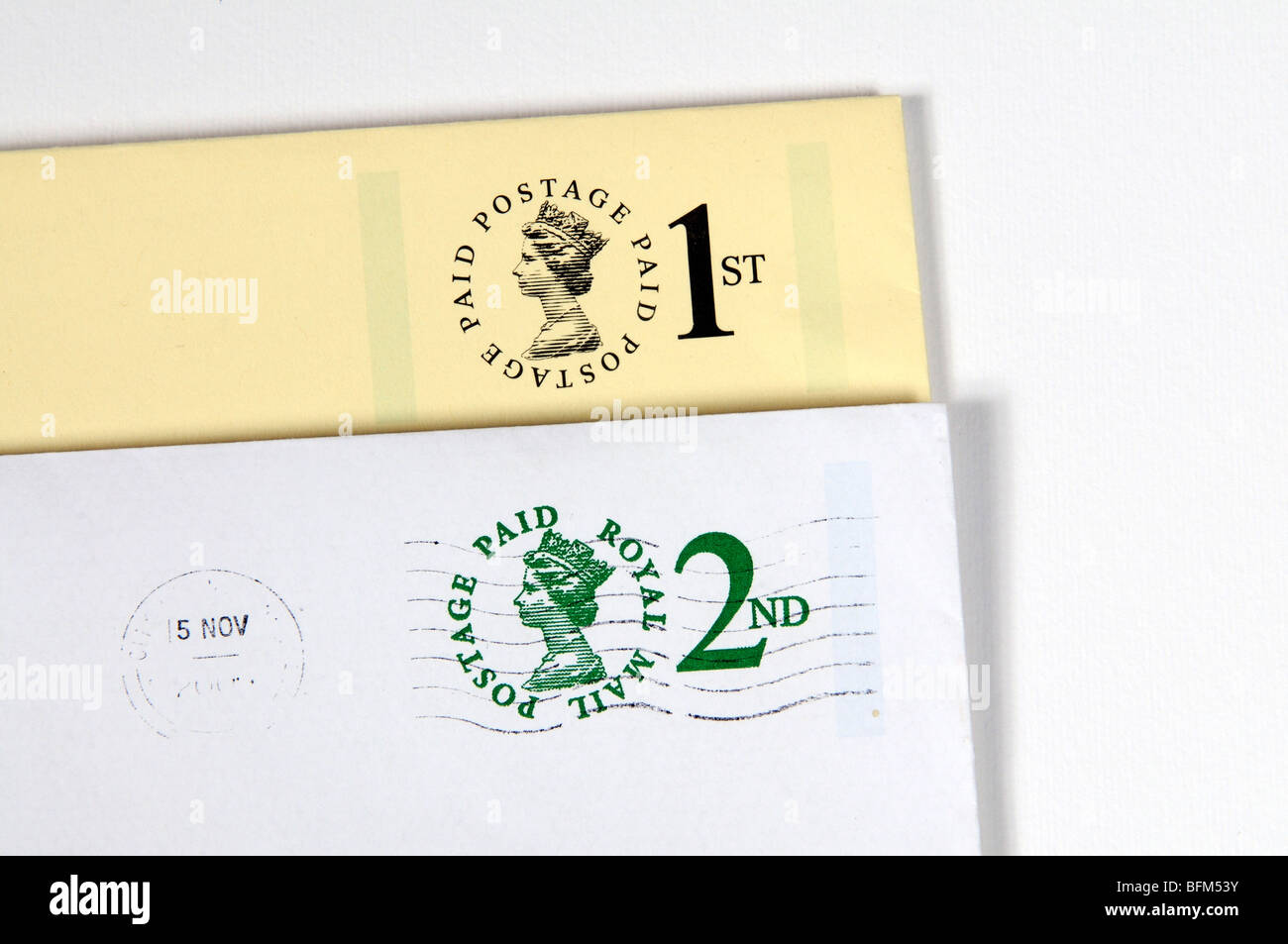 1st and 2nd class postage paid Royal Mail label - Stock Image