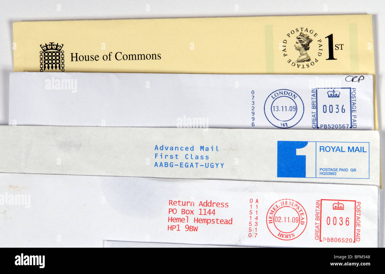 1st class postage paid Royal Mail labels - Stock Image