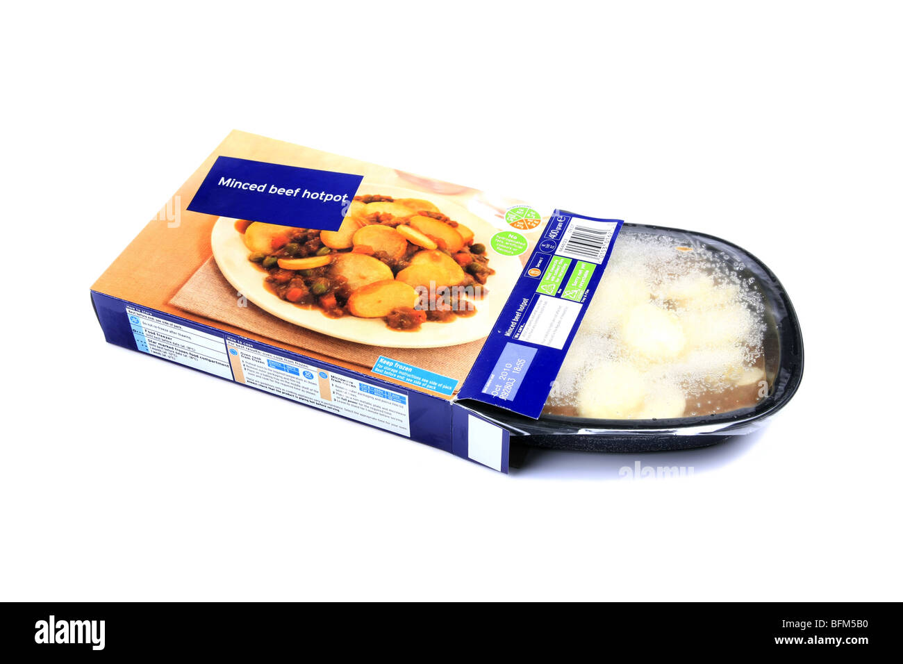 Frozen Minced Beef Hot Pot Ready Dinner cardboard packaging set against a white background - Stock Image